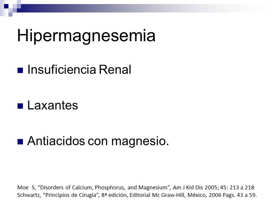 Hipermagnesemia Insuficiencia Renal Laxantes Antiacidos con magnesio. Moe S, Disorders of Calcium, Phosphorus, and Magnesium, Am J Kid Dis 2005; 45: 2