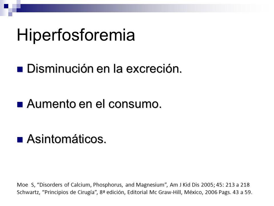 Hiperfosforemia Disminución en la excreción. Disminución en la excreción. Aumento en el consumo. Aumento en el consumo. Asintomáticos. Asintomáticos.