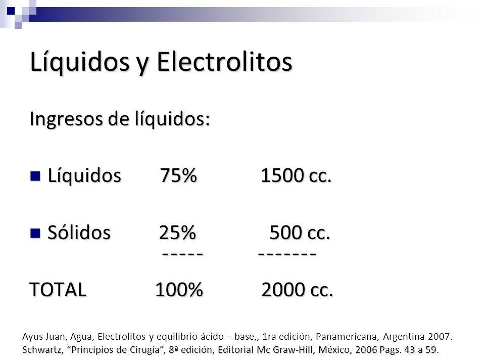 Líquidos y Electrolitos Ingresos de líquidos: Líquidos 75% 1500 cc. Líquidos 75% 1500 cc. Sólidos 25% 500 cc. Sólidos 25% 500 cc. ¯¯¯¯¯ ¯¯¯¯¯¯¯ ¯¯¯¯¯