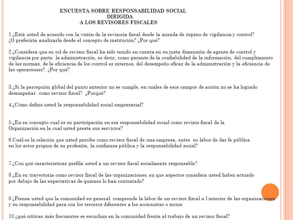 ENCUESTA SOBRE RESPONSABILIDAD SOCIAL DIRIGIDA A LOS REVISORES FISCALES 1.¿Está usted de acuerdo con la visión de la revisoría fiscal desde la mirada