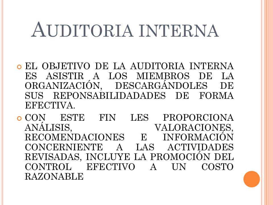 A UDITORIA INTERNA EL OBJETIVO DE LA AUDITORIA INTERNA ES ASISTIR A LOS MIEMBROS DE LA ORGANIZACIÓN, DESCARGÁNDOLES DE SUS REPONSABILIDADADES DE FORMA