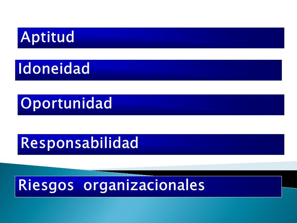 Aptitud Idoneidad Oportunidad Responsabilidad Riesgos organizacionales