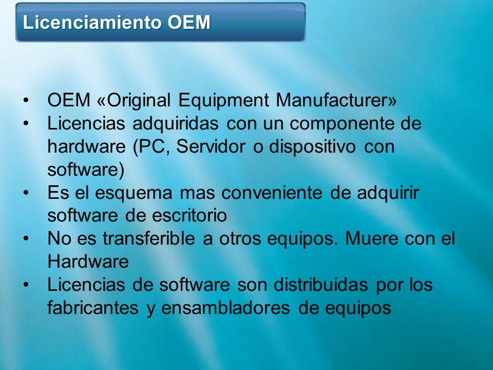 Licenciamiento OEM Licenciamiento OEM OEM «Original Equipment Manufacturer» Licencias adquiridas con un componente de hardware (PC, Servidor o disposi