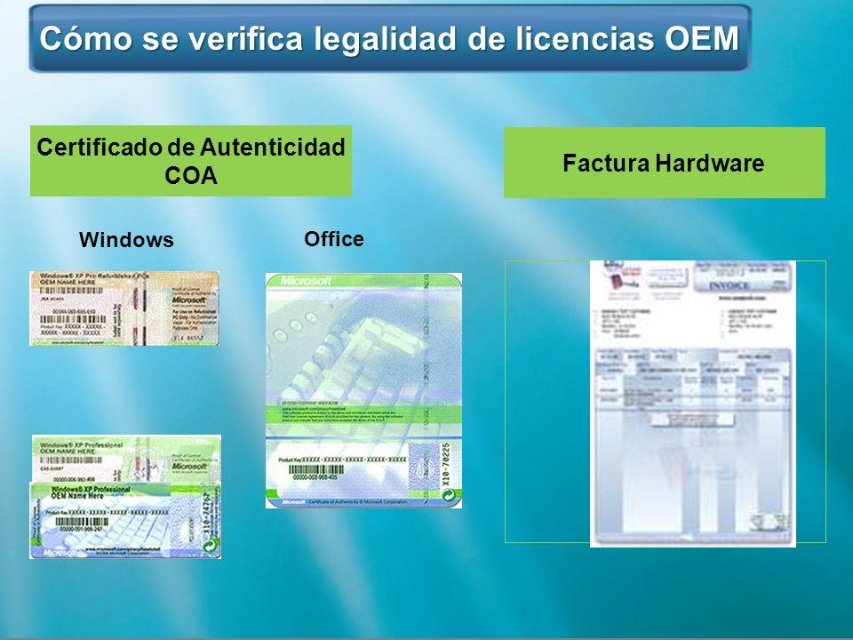 Cómo se verifica legalidad de licencias OEM Cómo se verifica legalidad de licencias OEM Certificado de Autenticidad COA Windows Office Factura Hardwar
