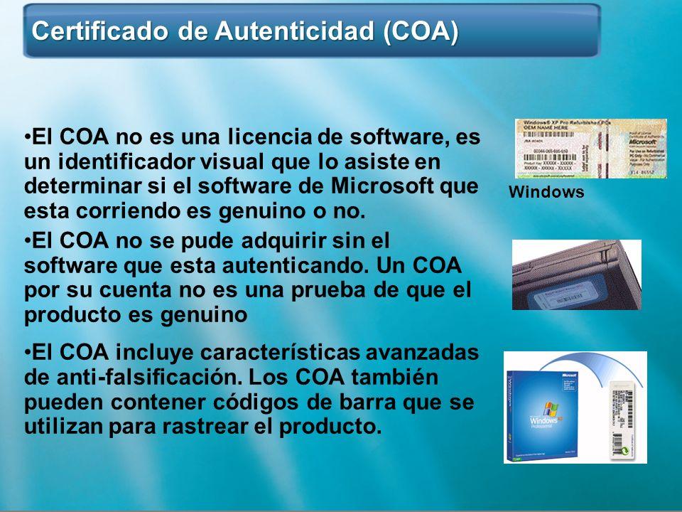 Certificado de Autenticidad (COA) Certificado de Autenticidad (COA) Windows El COA no es una licencia de software, es un identificador visual que lo a