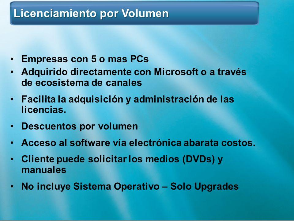 Licenciamiento por Volumen Licenciamiento por Volumen Empresas con 5 o mas PCs Adquirido directamente con Microsoft o a través de ecosistema de canale
