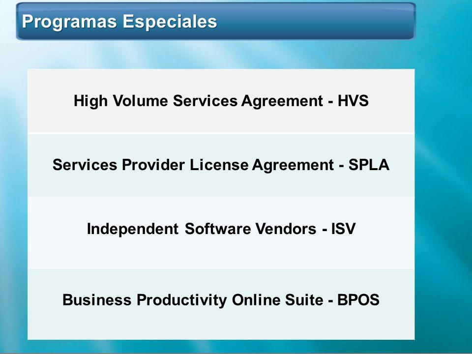 Programas Especiales Programas Especiales High Volume Services Agreement - HVS Services Provider License Agreement - SPLA Independent Software Vendors