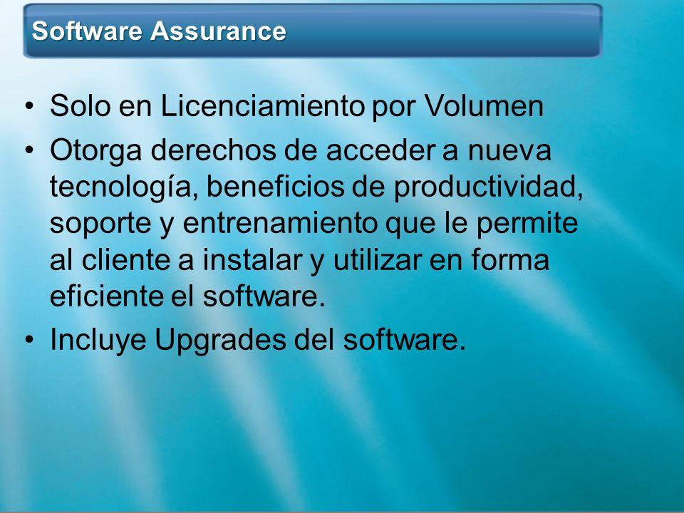 Software Assurance Software Assurance Solo en Licenciamiento por Volumen Otorga derechos de acceder a nueva tecnología, beneficios de productividad, s