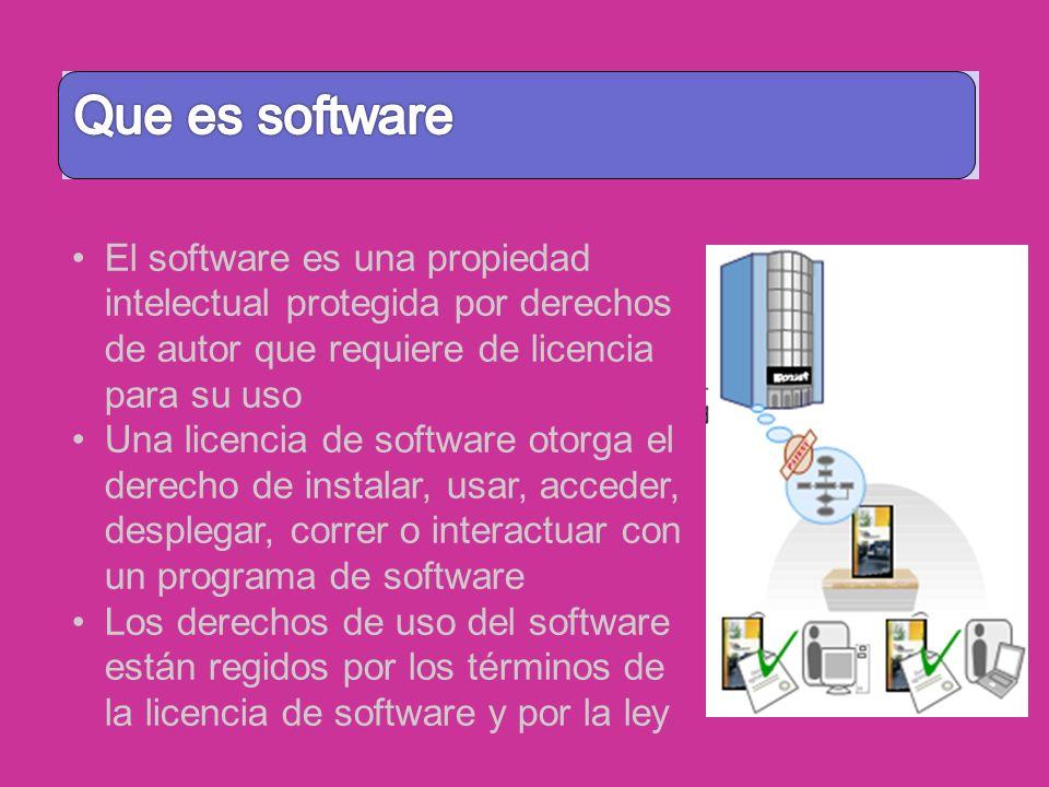 Software El software es una propiedad intelectual protegida por derechos de autor que requiere de licencia para su uso Una licencia de software otorga