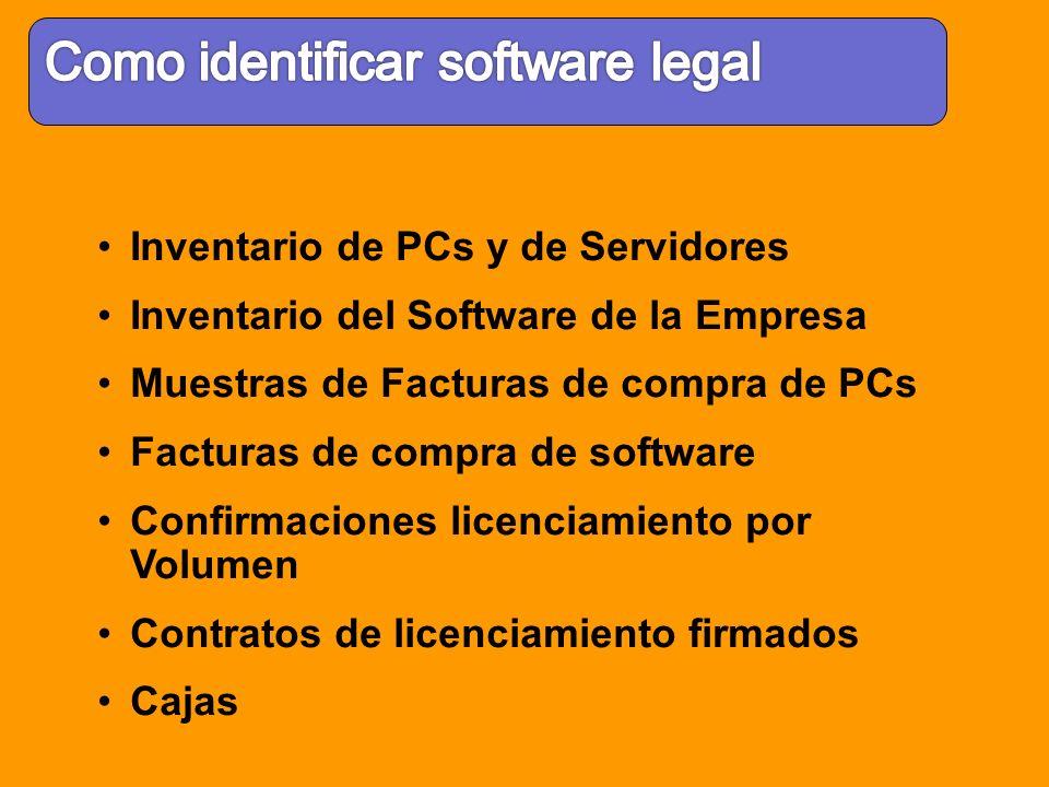 Inventario de PCs y de Servidores Inventario del Software de la Empresa Muestras de Facturas de compra de PCs Facturas de compra de software Confirmac