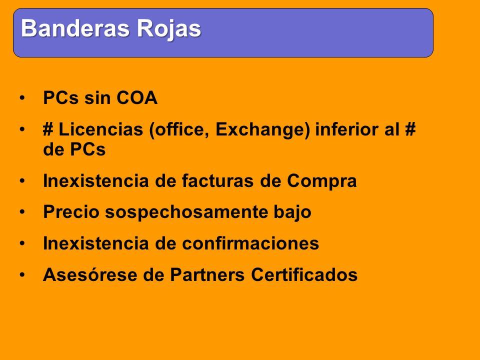 PCs sin COA # Licencias (office, Exchange) inferior al # de PCs Inexistencia de facturas de Compra Precio sospechosamente bajo Inexistencia de confirm