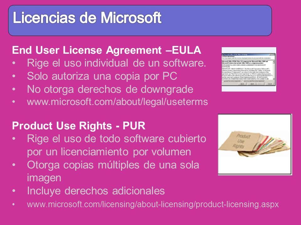 End User License Agreement –EULA Rige el uso individual de un software. Solo autoriza una copia por PC No otorga derechos de downgrade www.microsoft.c