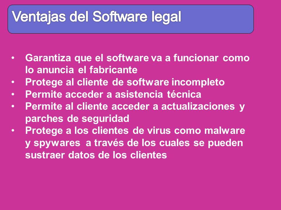 Garantiza que el software va a funcionar como lo anuncia el fabricante Protege al cliente de software incompleto Permite acceder a asistencia técnica