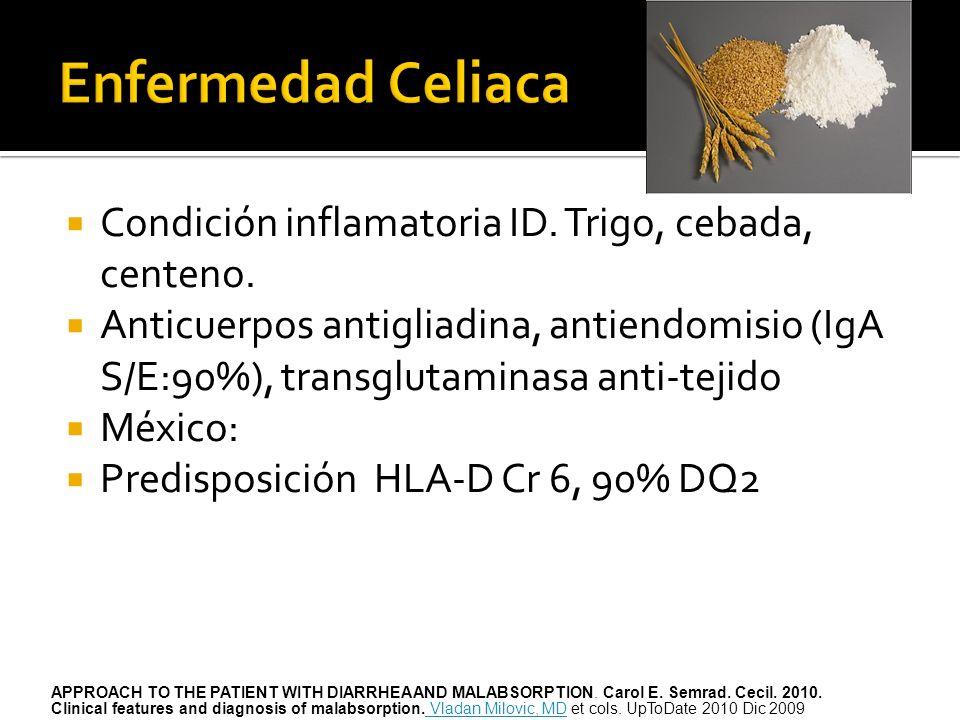Condición inflamatoria ID. Trigo, cebada, centeno. Anticuerpos antigliadina, antiendomisio (IgA S/E:90%), transglutaminasa anti-tejido México: Predisp