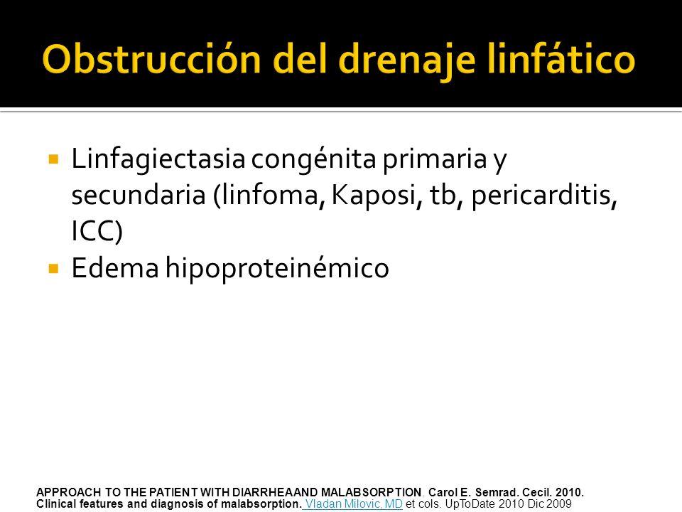 Linfagiectasia congénita primaria y secundaria (linfoma, Kaposi, tb, pericarditis, ICC) Edema hipoproteinémico APPROACH TO THE PATIENT WITH DIARRHEA A