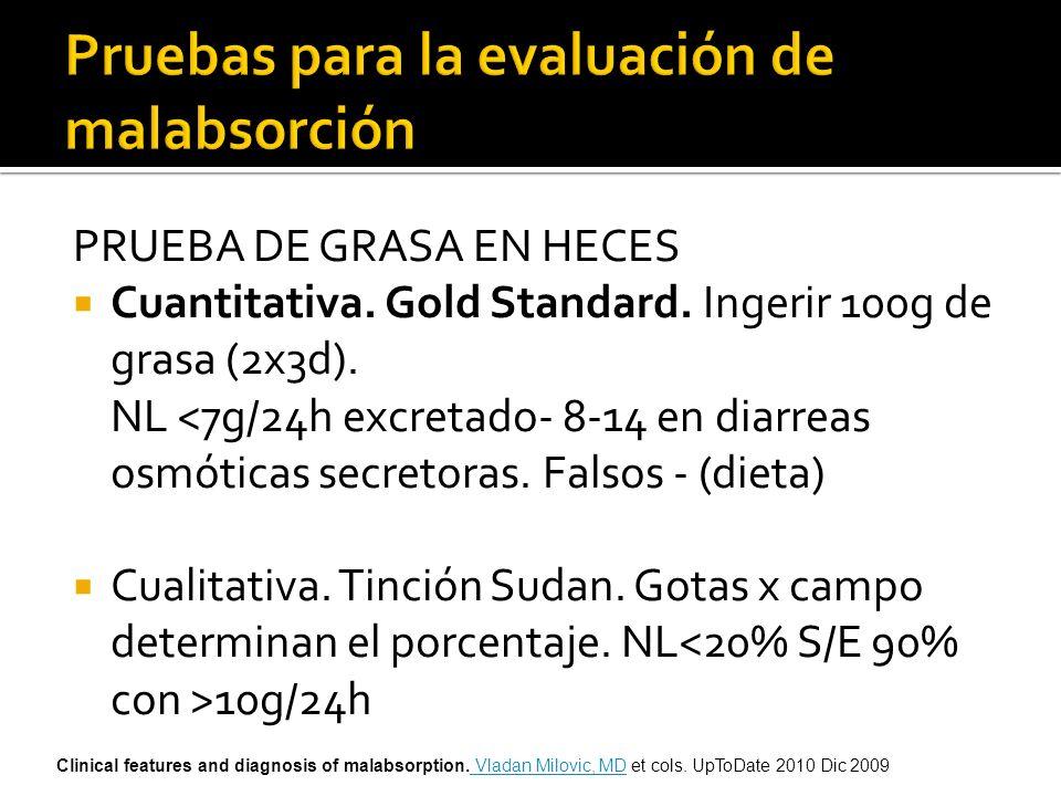 PRUEBA DE GRASA EN HECES Cuantitativa. Gold Standard. Ingerir 100g de grasa (2x3d). NL <7g/24h excretado- 8-14 en diarreas osmóticas secretoras. Falso