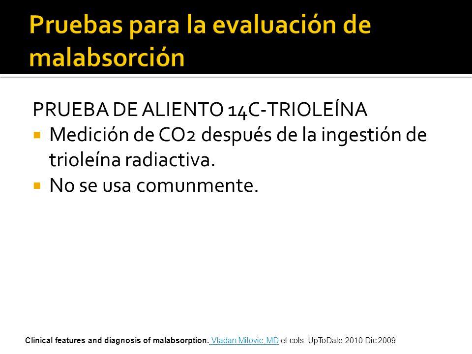 PRUEBA DE ALIENTO 14C-TRIOLEÍNA Medición de CO2 después de la ingestión de trioleína radiactiva. No se usa comunmente. Clinical features and diagnosis