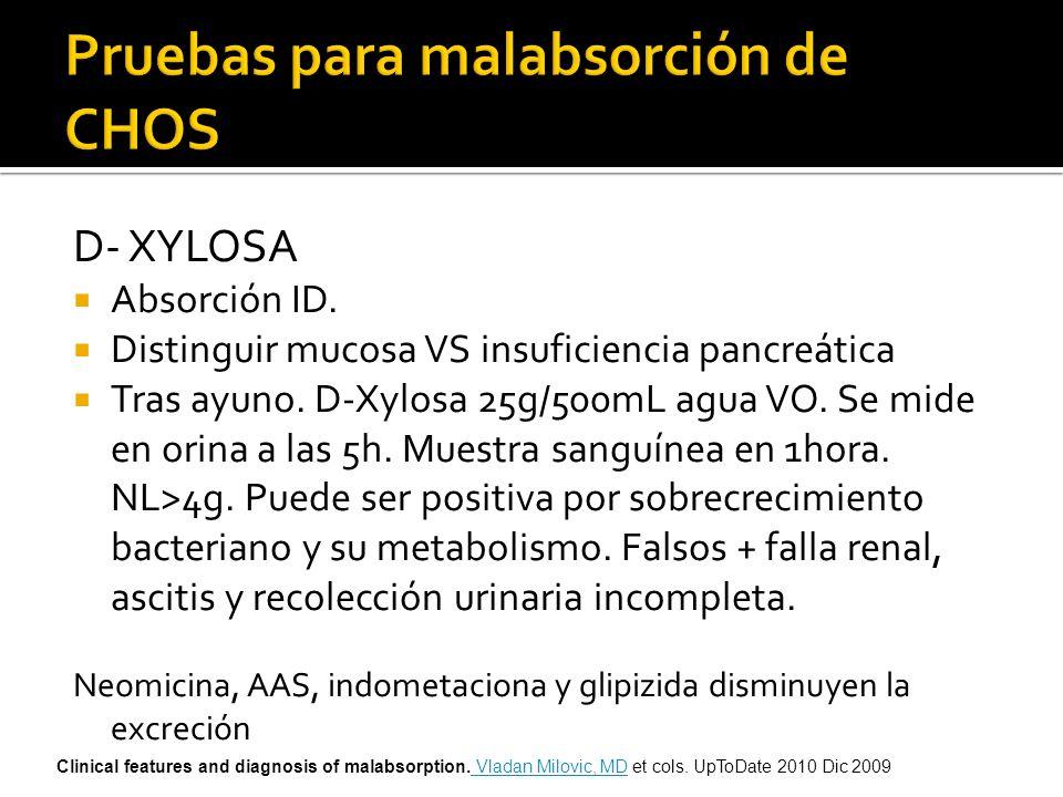 D- XYLOSA Absorción ID. Distinguir mucosa VS insuficiencia pancreática Tras ayuno. D-Xylosa 25g/500mL agua VO. Se mide en orina a las 5h. Muestra sang