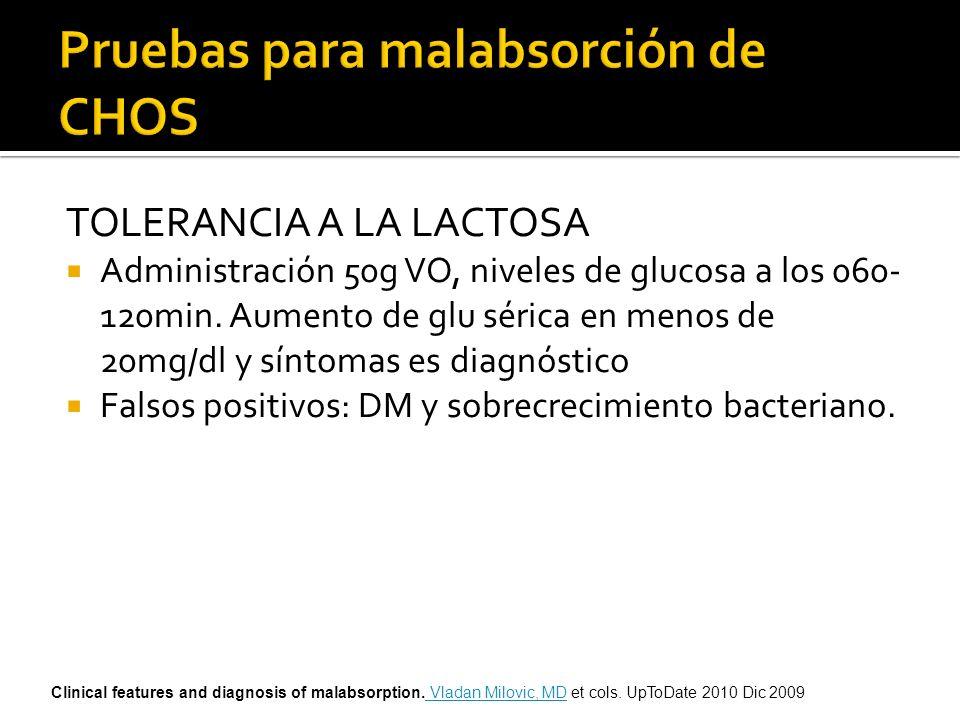 TOLERANCIA A LA LACTOSA Administración 50g VO, niveles de glucosa a los 060- 120min. Aumento de glu sérica en menos de 20mg/dl y síntomas es diagnósti