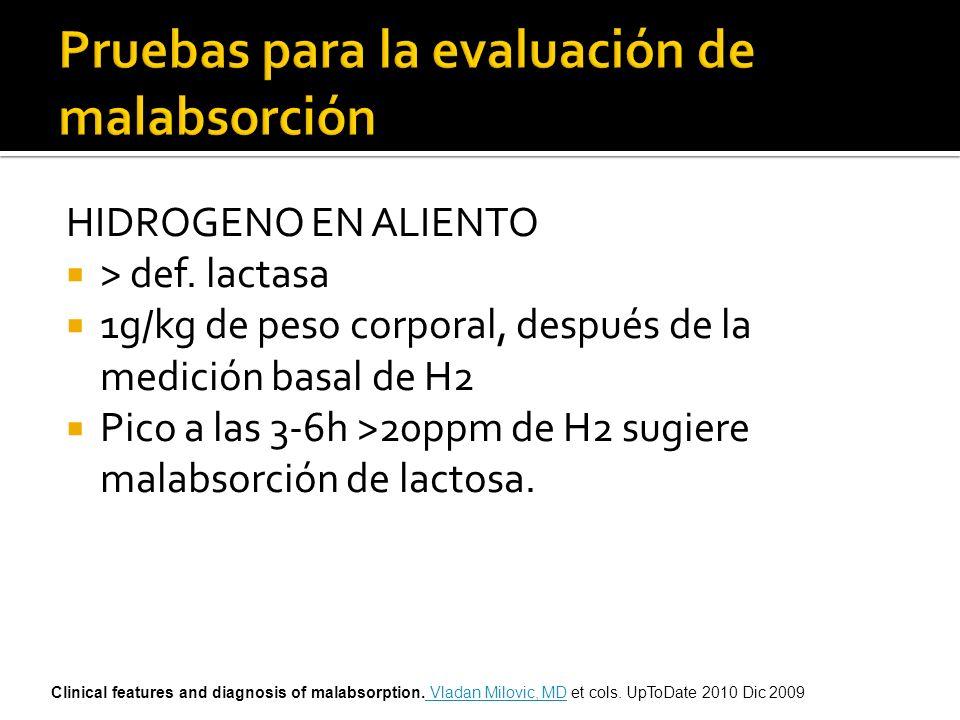 HIDROGENO EN ALIENTO > def. lactasa 1g/kg de peso corporal, después de la medición basal de H2 Pico a las 3-6h >20ppm de H2 sugiere malabsorción de la