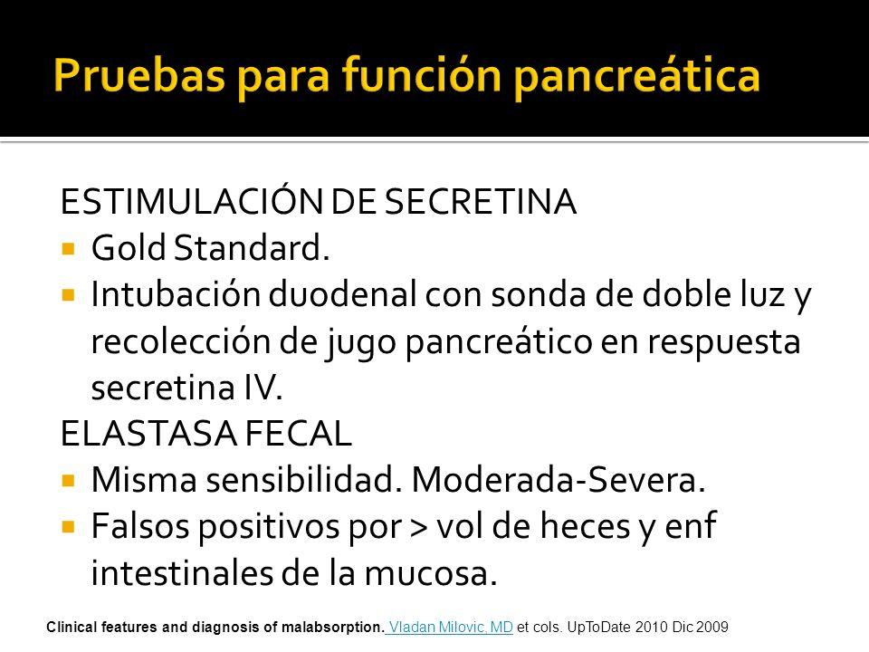 ESTIMULACIÓN DE SECRETINA Gold Standard. Intubación duodenal con sonda de doble luz y recolección de jugo pancreático en respuesta secretina IV. ELAST