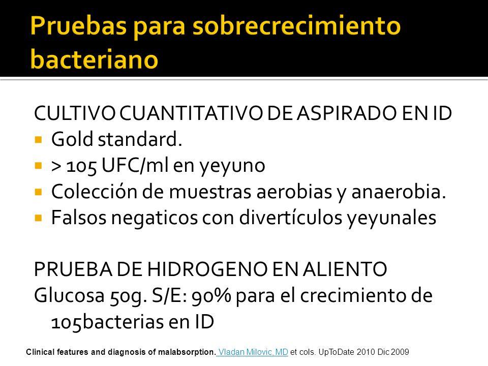 CULTIVO CUANTITATIVO DE ASPIRADO EN ID Gold standard. > 105 UFC/ml en yeyuno Colección de muestras aerobias y anaerobia. Falsos negaticos con divertíc