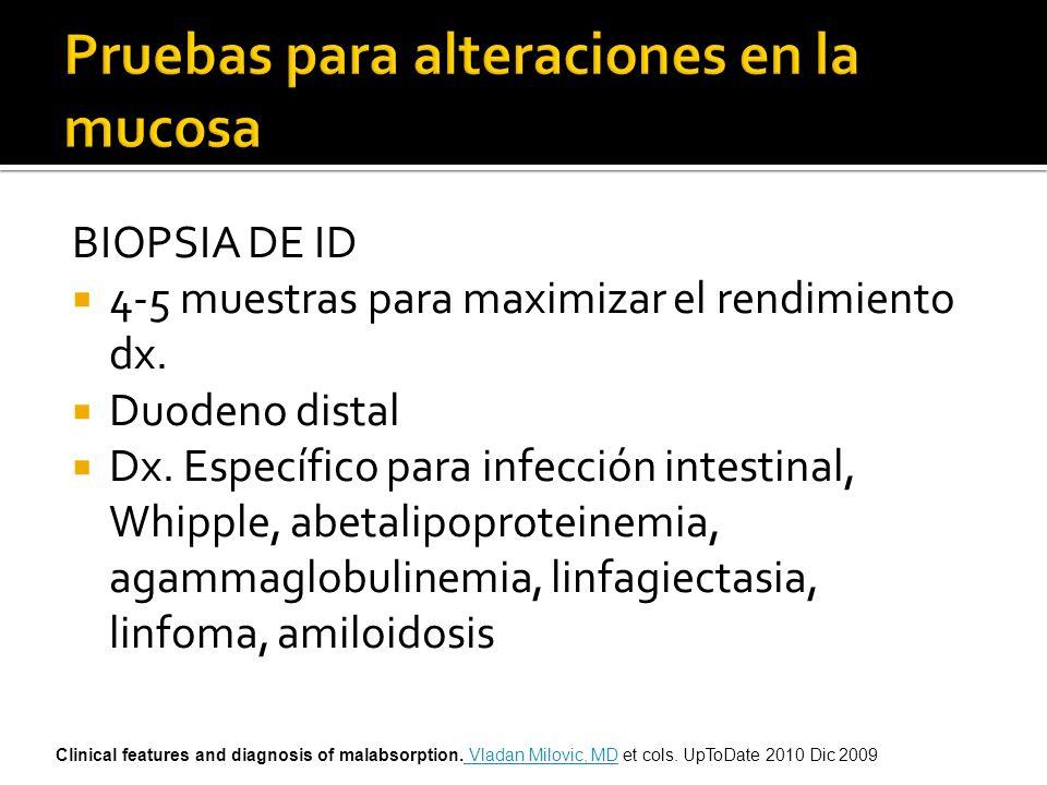 BIOPSIA DE ID 4-5 muestras para maximizar el rendimiento dx. Duodeno distal Dx. Específico para infección intestinal, Whipple, abetalipoproteinemia, a