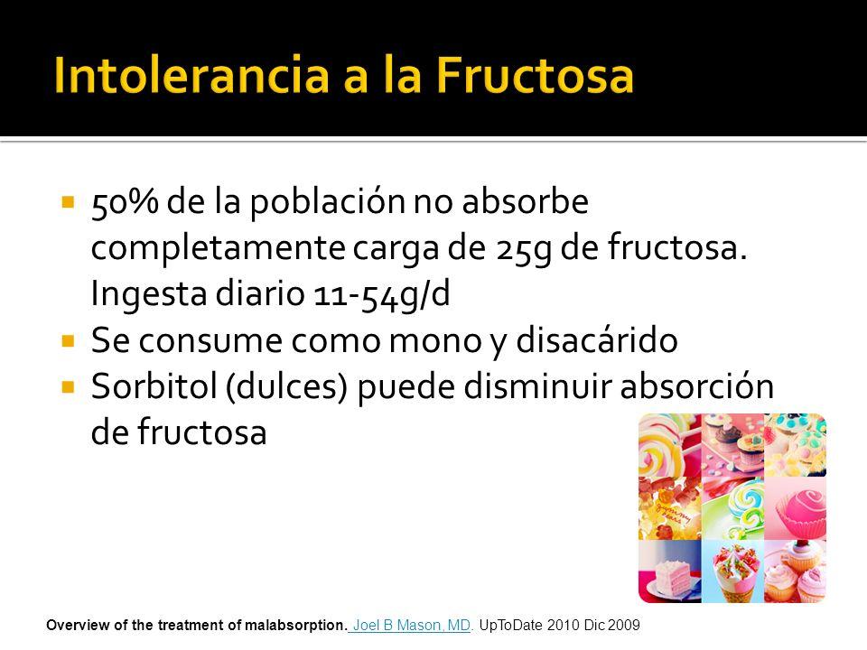 50% de la población no absorbe completamente carga de 25g de fructosa. Ingesta diario 11-54g/d Se consume como mono y disacárido Sorbitol (dulces) pue