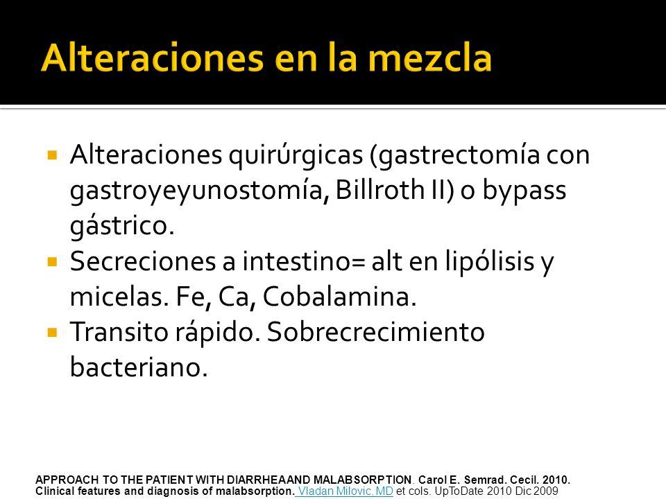 Alteraciones quirúrgicas (gastrectomía con gastroyeyunostomía, Billroth II) o bypass gástrico. Secreciones a intestino= alt en lipólisis y micelas. Fe