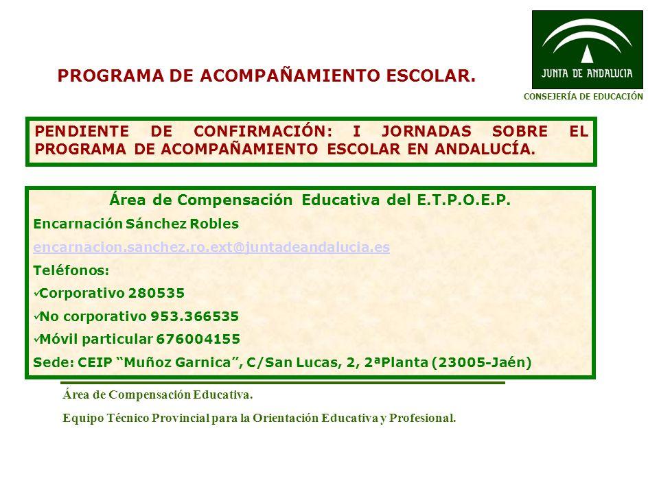 Área de Compensación Educativa. Equipo Técnico Provincial para la Orientación Educativa y Profesional. PROGRAMA DE ACOMPAÑAMIENTO ESCOLAR. PENDIENTE D