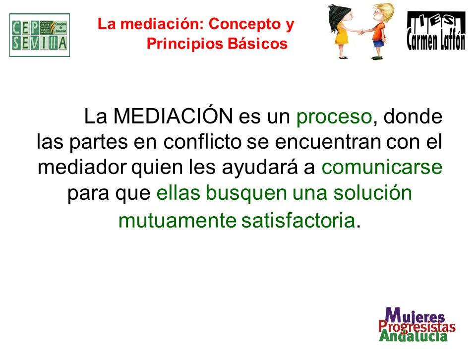 La mediación: Concepto y Principios Básicos La MEDIACIÓN es un proceso, donde las partes en conflicto se encuentran con el mediador quien les ayudará a comunicarse para que ellas busquen una solución mutuamente satisfactoria.