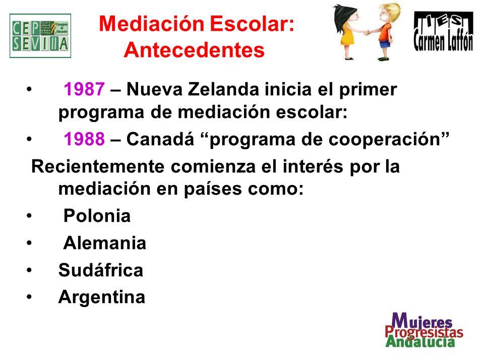 Mediación Escolar: Antecedentes 1987 – Nueva Zelanda inicia el primer programa de mediación escolar: 1988 – Canadá programa de cooperación Recientemente comienza el interés por la mediación en países como: Polonia Alemania Sudáfrica Argentina