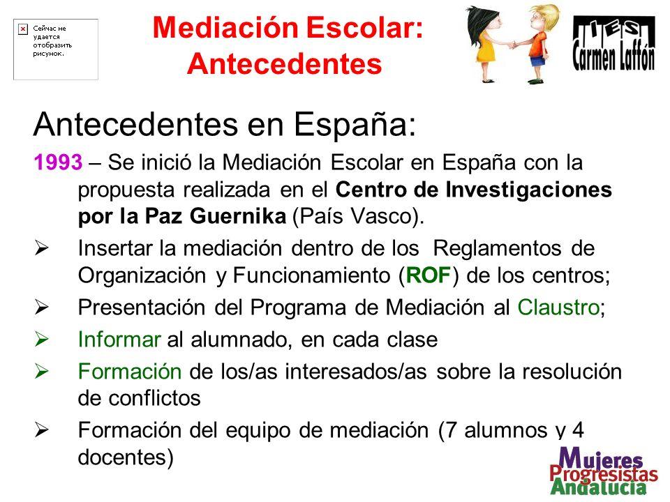 Mediación Escolar: Antecedentes Antecedentes en España: 1993 – Se inició la Mediación Escolar en España con la propuesta realizada en el Centro de Investigaciones por la Paz Guernika (País Vasco).