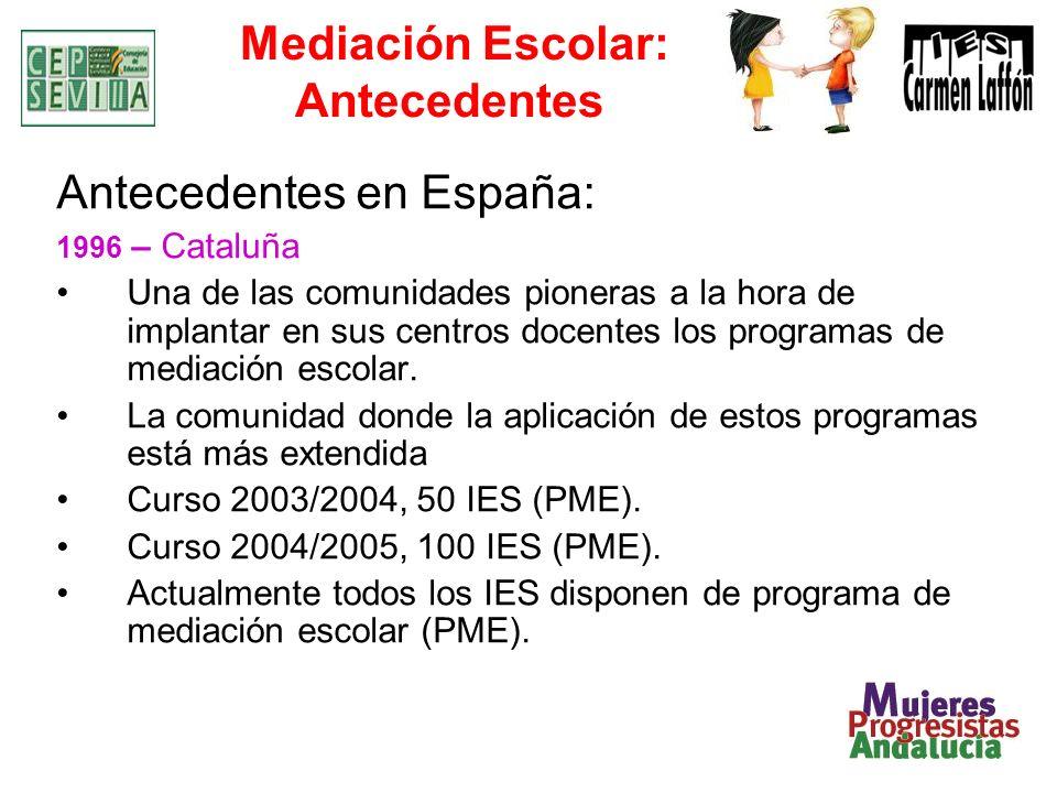 Mediación Escolar: Antecedentes Antecedentes en España: 1996 – Cataluña Una de las comunidades pioneras a la hora de implantar en sus centros docentes los programas de mediación escolar.
