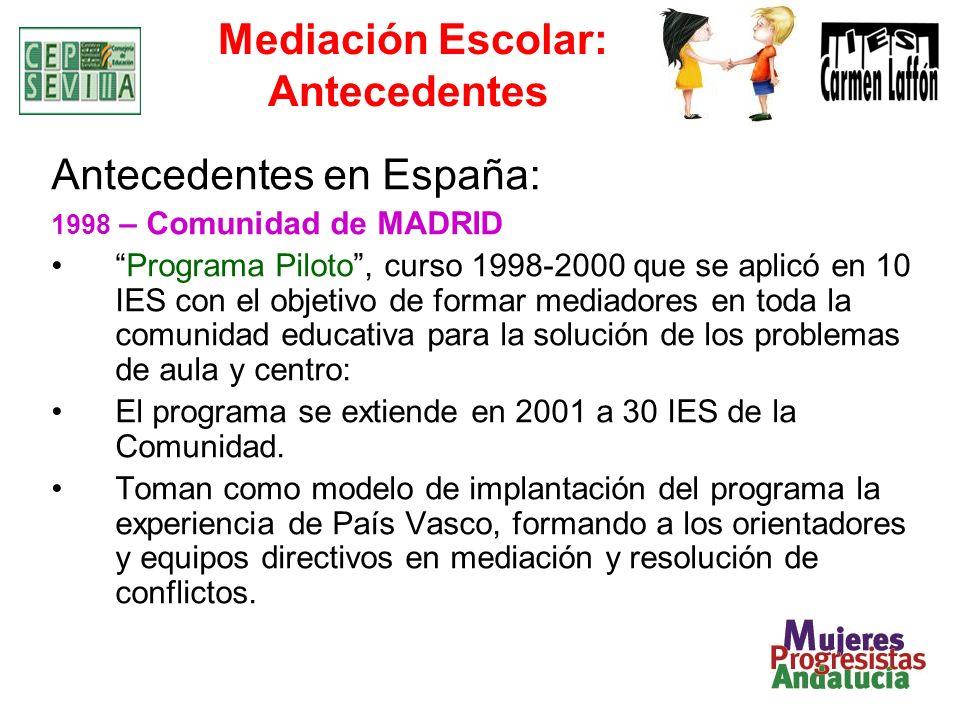 Mediación Escolar: Antecedentes Antecedentes en España: 1998 – Comunidad de MADRID Programa Piloto, curso 1998-2000 que se aplicó en 10 IES con el objetivo de formar mediadores en toda la comunidad educativa para la solución de los problemas de aula y centro: El programa se extiende en 2001 a 30 IES de la Comunidad.