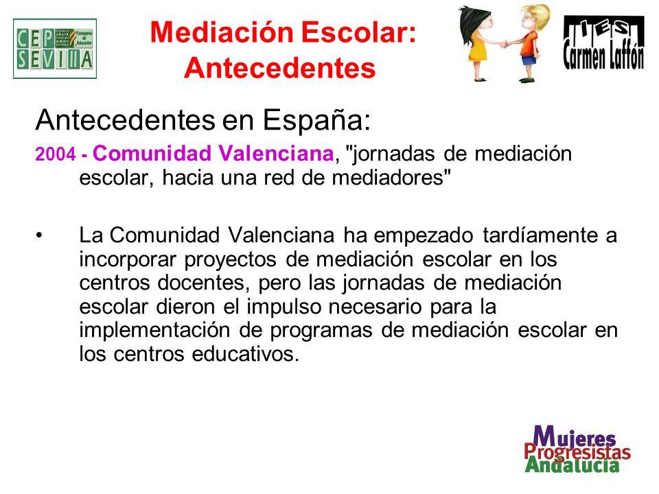 Mediación Escolar: Antecedentes Antecedentes en España: 2004 - Comunidad Valenciana,