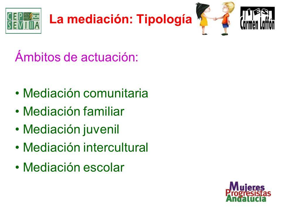 La mediación: Tipología Ámbitos de actuación: Mediación comunitaria Mediación familiar Mediación juvenil Mediación intercultural Mediación escolar