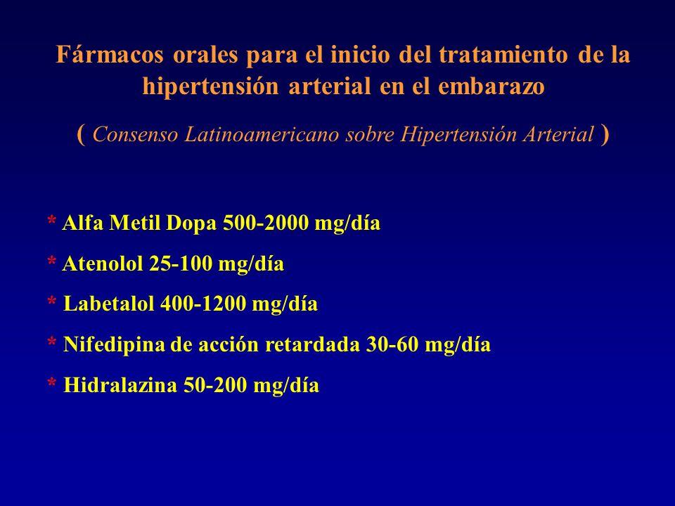 Fármacos orales para el inicio del tratamiento de la hipertensión arterial en el embarazo ( Consenso Latinoamericano sobre Hipertensión Arterial ) * A