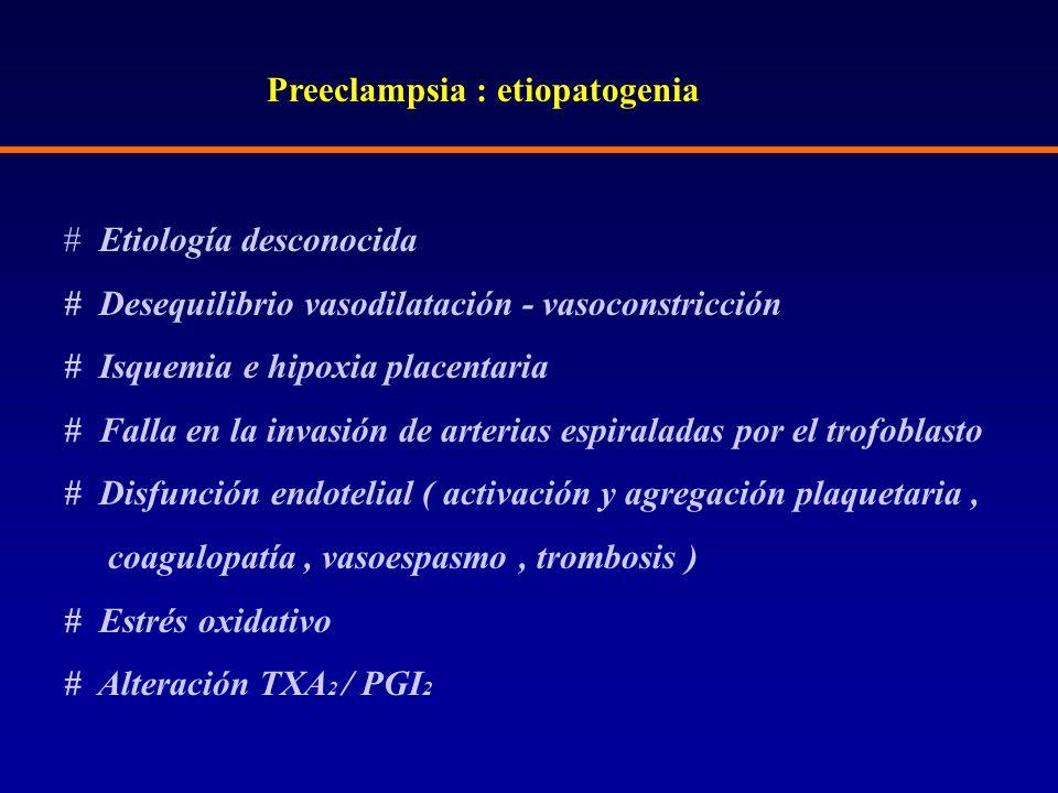 Preeclampsia : etiopatogenia # Etiología desconocida # Desequilibrio vasodilatación - vasoconstricción # Isquemia e hipoxia placentaria # Falla en la