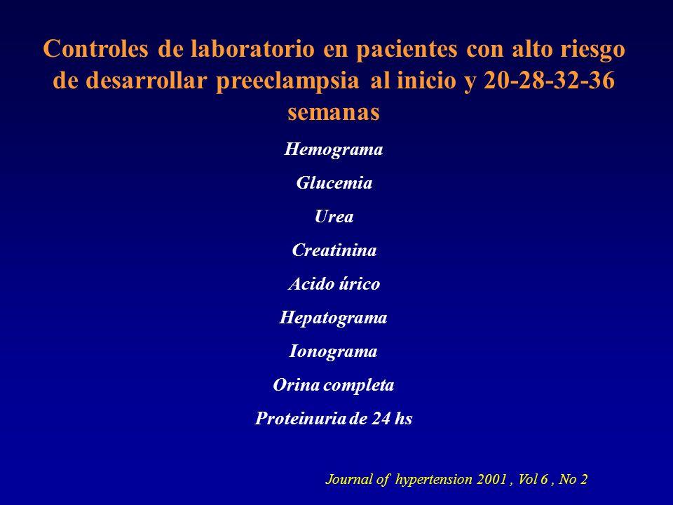 Controles de laboratorio en pacientes con alto riesgo de desarrollar preeclampsia al inicio y 20-28-32-36 semanas Hemograma Glucemia Urea Creatinina A