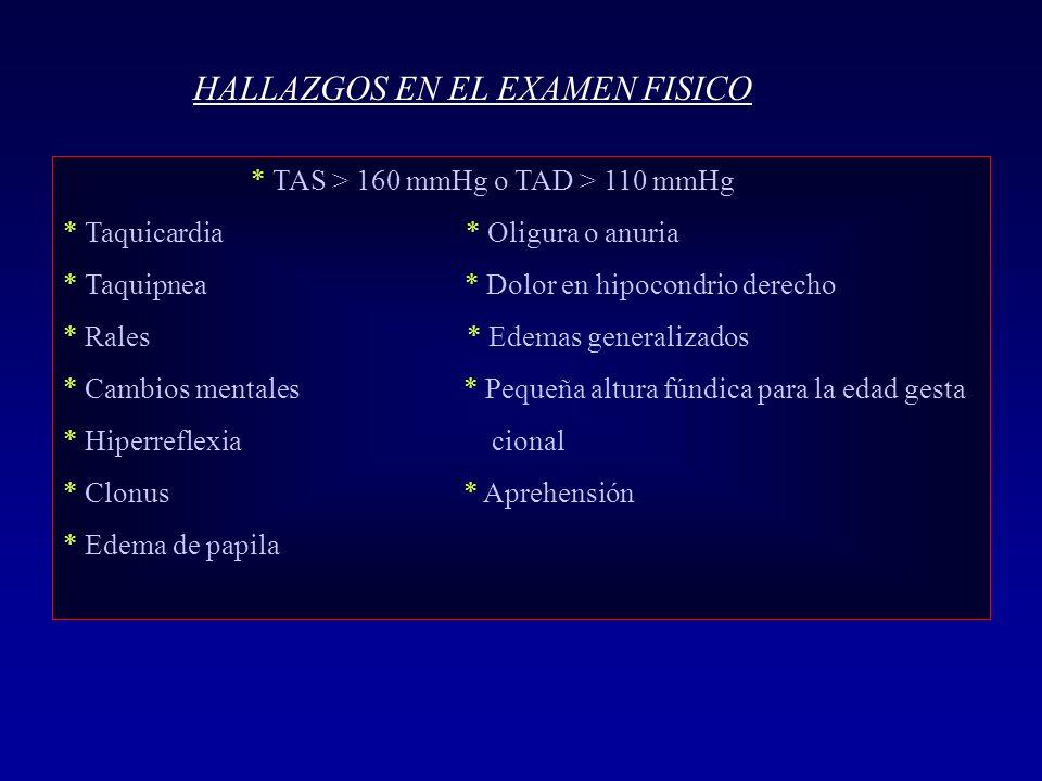 HALLAZGOS EN EL EXAMEN FISICO * TAS > 160 mmHg o TAD > 110 mmHg * Taquicardia * Oligura o anuria * Taquipnea * Dolor en hipocondrio derecho * Rales *