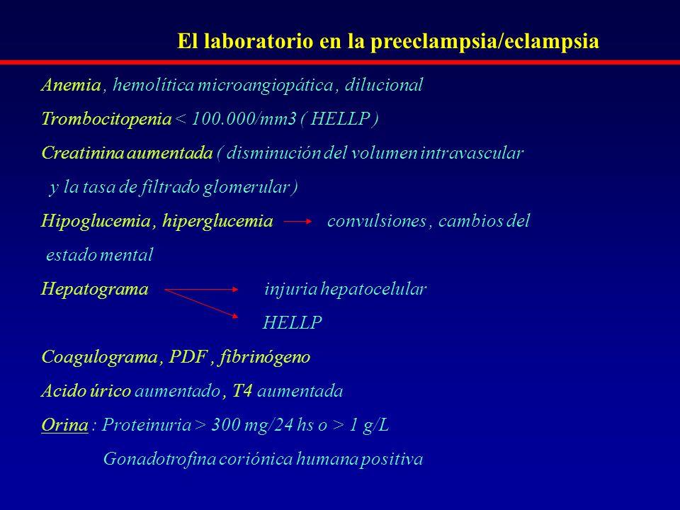 El laboratorio en la preeclampsia/eclampsia Anemia, hemolítica microangiopática, dilucional Trombocitopenia < 100.000/mm3 ( HELLP ) Creatinina aumenta