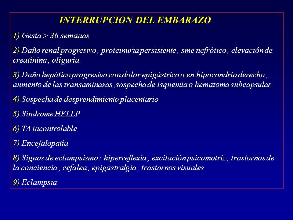 INTERRUPCION DEL EMBARAZO 1) Gesta > 36 semanas 2) Daño renal progresivo, proteinuria persistente, sme nefrótico, elevación de creatinina, oliguria 3)