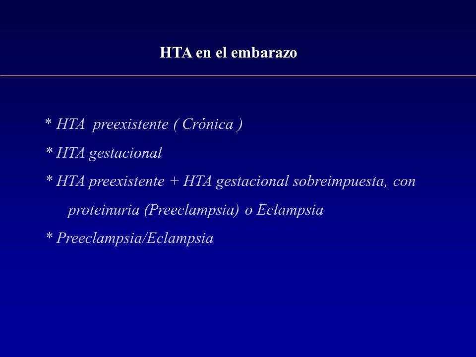 HTA en el embarazo * HTA preexistente ( Crónica ) * HTA gestacional * HTA preexistente + HTA gestacional sobreimpuesta, con proteinuria (Preeclampsia)