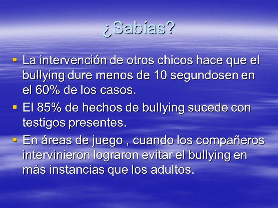 ¿Sabías? La intervención de otros chicos hace que el bullying dure menos de 10 segundosen en el 60% de los casos. La intervención de otros chicos hace