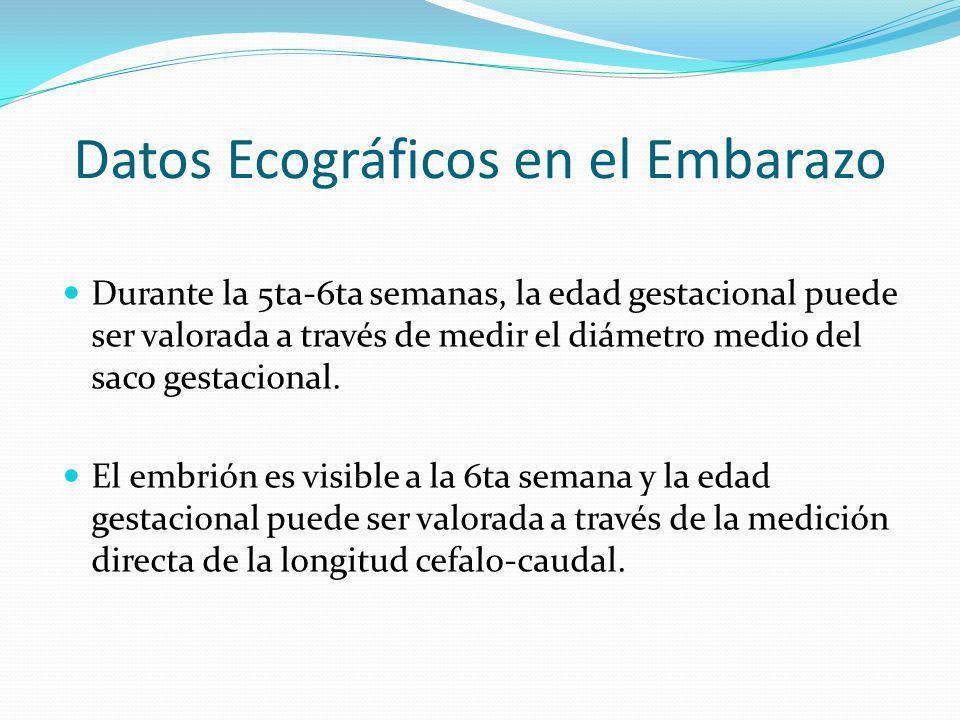 Datos Ecográficos en el Embarazo Durante la 5ta-6ta semanas, la edad gestacional puede ser valorada a través de medir el diámetro medio del saco gesta