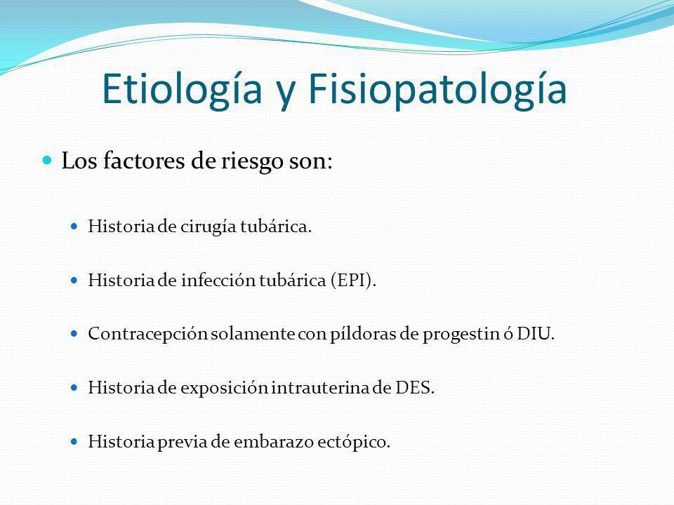 Etiología y Fisiopatología Los factores de riesgo son: Historia de cirugía tubárica. Historia de infección tubárica (EPI). Contracepción solamente con