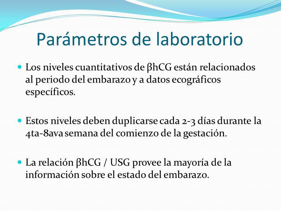 Parámetros de laboratorio Los niveles cuantitativos de βhCG están relacionados al periodo del embarazo y a datos ecográficos específicos. Estos nivele