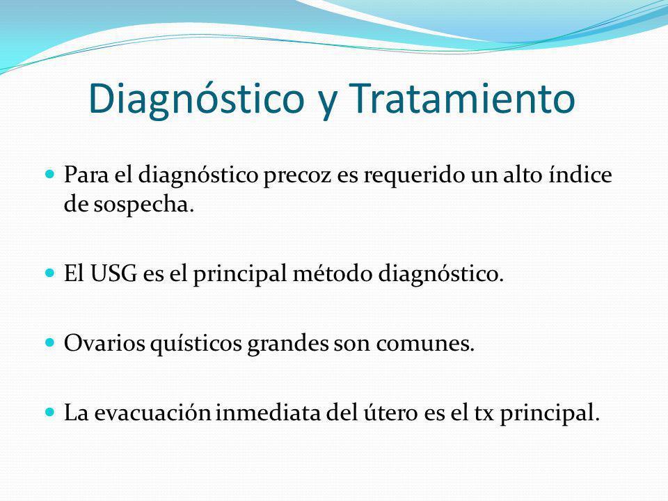 Diagnóstico y Tratamiento Para el diagnóstico precoz es requerido un alto índice de sospecha. El USG es el principal método diagnóstico. Ovarios quíst