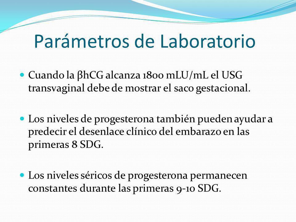 Parámetros de Laboratorio Cuando la βhCG alcanza 1800 mLU/mL el USG transvaginal debe de mostrar el saco gestacional. Los niveles de progesterona tamb